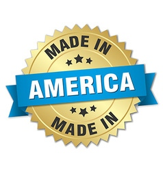 Made in america gold badge with blue ribbon vector