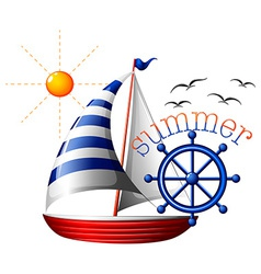 A summer template with a boat vector image