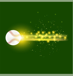 burning baseball ball with yellow sparkles vector image