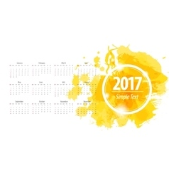 Calendar 2017 week starts from sunday yellow vector