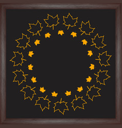 Color wreath maple leaf on chalkboard background vector