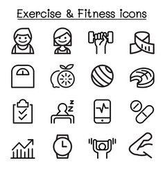 exercise fitness icon set in thin line style vector image