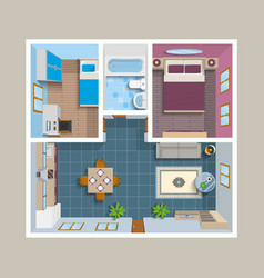 Flat Architectural Plan Top View Position vector image vector image