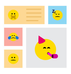 Flat icon expression set of hush displeased cold vector