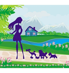 girl walking the dogs vector image
