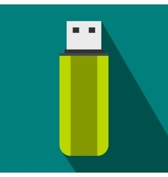 Green USB flash drive icon flat style vector image