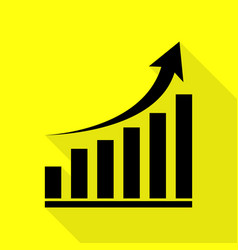 growing graph sign black icon with flat style vector image vector image