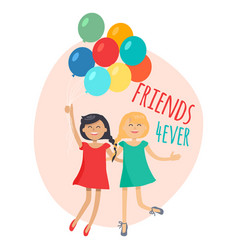 Happy girls with colorful balloons friends forever vector