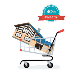 Home in the shop basket vector