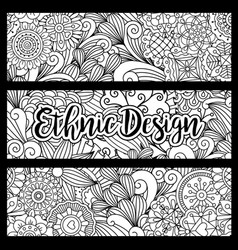 Horizontal flyers with ethnic pattern vector