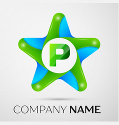 Letter p logo symbol in the colorful star on grey vector