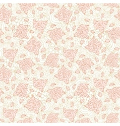 Light pink stylized doodle roses seamless pattern vector