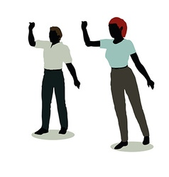 man and woman silhouette in Animations Waving vector image