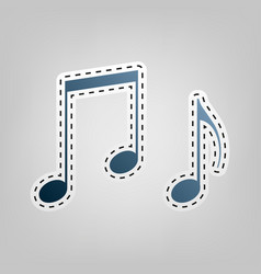 Music notes sign blue icon with outline vector