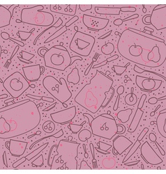 Seamless pattern with crockery and cutlery vector image vector image