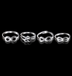 set of silver rings vector image