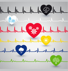several heartbeat lines vector image vector image