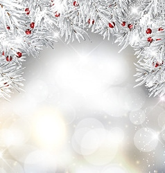 Silver christmas tree branches and berries on vector
