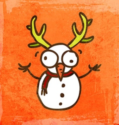 Snowman with Antlers Cartoon vector image vector image