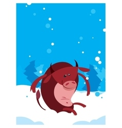 The Red Ox Bull whith winter background vector image