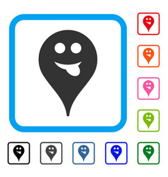 Tongue smiley map marker framed icon vector