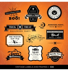 Vintage halloween labels and frames vector