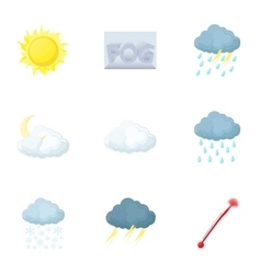 Weather forecast icons set cartoon style vector