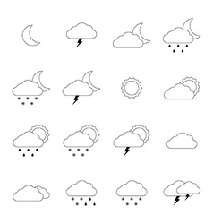 Weather icon set thin line style vector