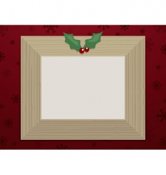 wooden Christmas picture frame vector image vector image