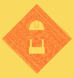 Worker sign red scribble icon obtained as vector