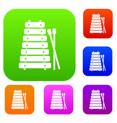 Xylophone and sticks set color collection vector