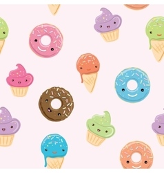 Seamless pattern with sweets in kawaii style vector image