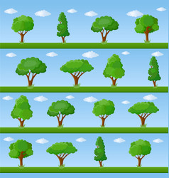Set of decorative stylized tree vector