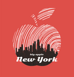 New york big apple t-shirt graphic design with vector