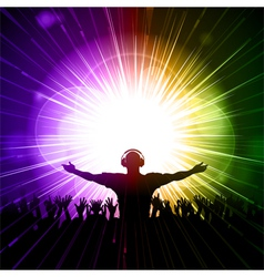 DJ and crowd on purple and green background vector image