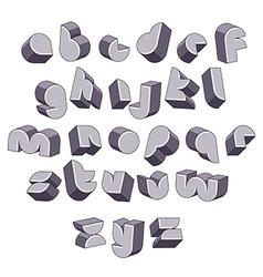 3d futuristic round font monochrome dimensional vector