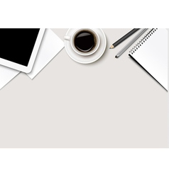 Office background with coffee tablet paper and vector image