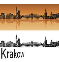 Krakow skyline in orange vector
