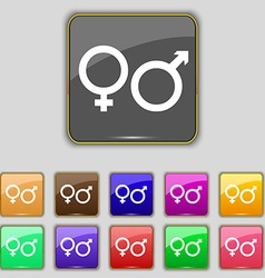 Male and female icon sign set with eleven colored vector