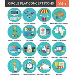 Circle colorful concept icons flat design set 2 vector