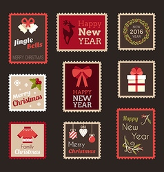 Set of christmas and new year postage stamps vector