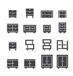 cabinet icon set vector image