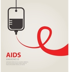 A blood donation bag with tube shaped as a aids vector