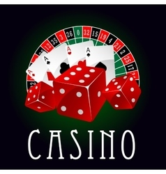 Casino icon with aces dice and roulette wheel vector