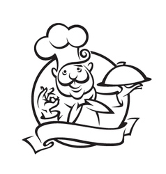 chef with tray vector image