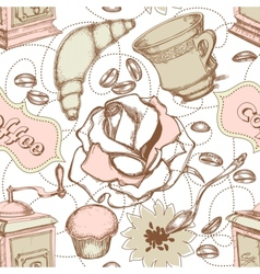 coffee and cakes seamless pattern vector image