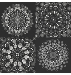 Set circular ornaments vintage style vector