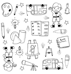 Hand draw doodles element school vector
