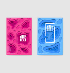 abstract paper cut layered pink blue posters vector image vector image
