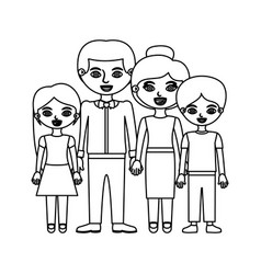 Black contour family group in formal suit and vector